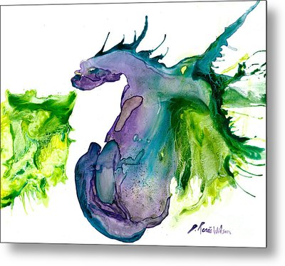 Wildfire And Water Dragon Metal Print by D Renee Wilson