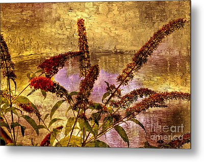 Wildflowers At The Pond Metal Print by Elaine Manley