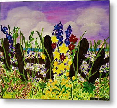 Metal Print featuring the painting Wildflowers By The Sea by Celeste Manning
