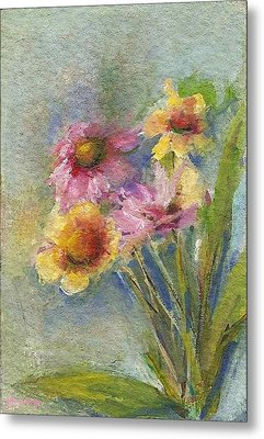 Metal Print featuring the painting Wildflowers by Mary Wolf
