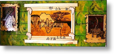 Wildlife Africa- Botswana  Safari Wood Pyrography Fine Art Metal Print by Egri George-Christian