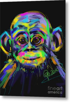 Wildlife Baby Chimp Metal Print by Go Van Kampen