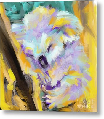 Wildlife Cuddle Koala Metal Print by Go Van Kampen