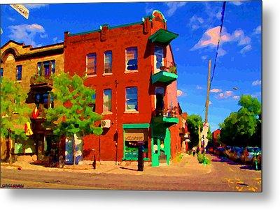 Wilenskys Deli Light Lunch Famous Sandwich Coffee Shop Art Of Montreal Street Scene Carole Spandau Metal Print by Carole Spandau