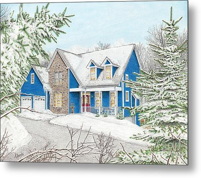 Metal Print featuring the painting Wiley House by Albert Puskaric