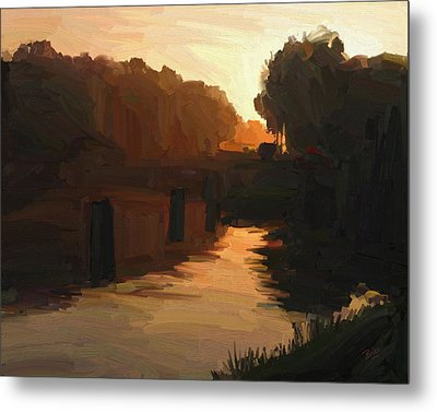 Metal Print featuring the painting Wilhelmina Canal In Autumn Morning Light by Nop Briex