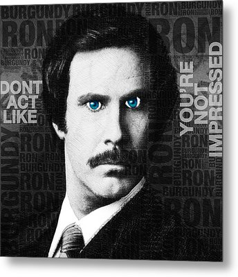 Will Ferrell Anchorman The Legend Of Ron Burgundy Words Black And White Metal Print by Tony Rubino