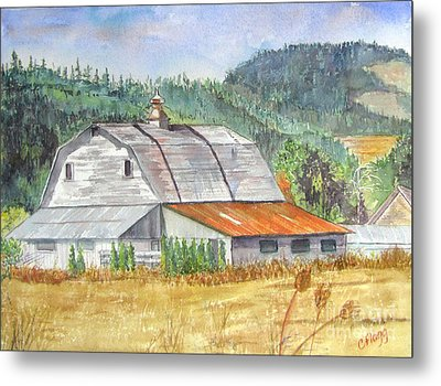 Metal Print featuring the painting Willamette Valley Barn by Carol Flagg