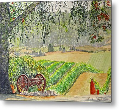 Metal Print featuring the painting Willamette Valley Winery by Carol Flagg