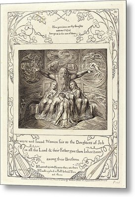 William Blake, British 1757-1827, Job And His Daughters Metal Print