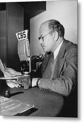 William Shirer At Cbs Metal Print by Underwood Archives