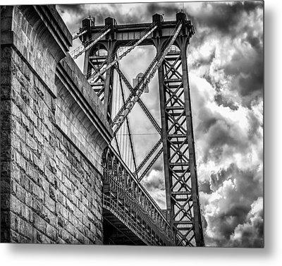 Metal Print featuring the photograph Williamsburg Bridge From Brooklyn New York by Linda Karlin