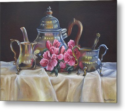 Metal Print featuring the painting Williamsburg Stieff Tea Set by Phyllis Beiser