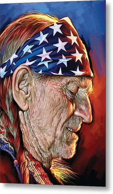 Metal Print featuring the painting Willie Nelson Artwork by Sheraz A