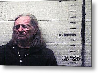 Willie Nelson Mugshot Metal Print by Bill Cannon