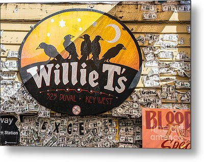 Willie T's Bar And Dollar Bills Key West  Metal Print by Ian Monk