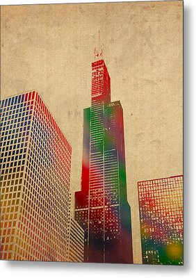 Willis Sears Tower Chicago Illinois Watercolor On Worn Canvas Series Metal Print by Design Turnpike