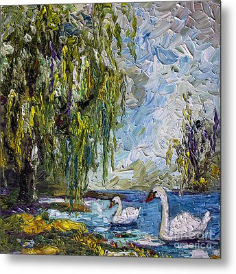 Willow Tree And Swan Lake Oil Painting Metal Print by Ginette Callaway