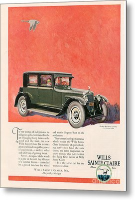 Wills Sainte Claire 1925 1920s Usa Cc Metal Print by The Advertising Archives