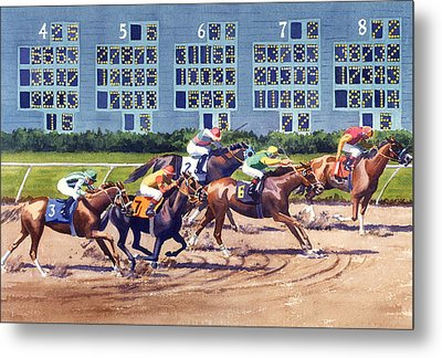 Win Place Show At Del Mar Metal Print by Mary Helmreich