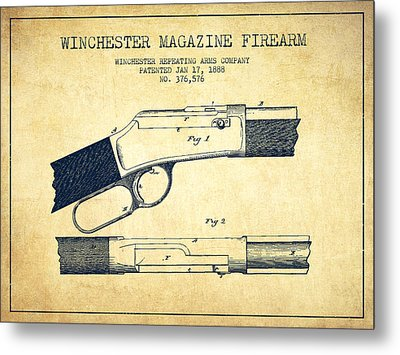 Winchester Firearm Patent Drawing From 1888- Vintage Metal Print by Aged Pixel