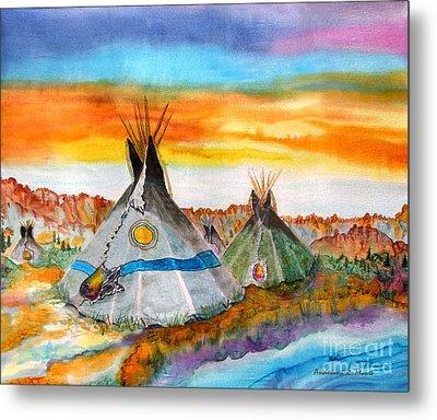 Wind River Encampment Silk Painting Metal Print