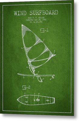 Wind Surfboard Patent Drawing From 1982 - Green Metal Print by Aged Pixel