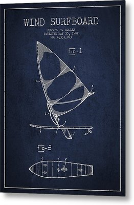 Wind Surfboard Patent Drawing From 1982 - Navy Blue Metal Print by Aged Pixel