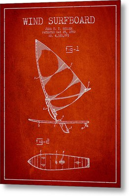 Wind Surfboard Patent Drawing From 1982 - Red Metal Print by Aged Pixel