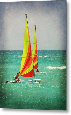 Metal Print featuring the photograph Wind Surfing by Lorella  Schoales