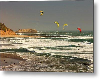 Wind Surfing Santa Cruz Coast Metal Print by Tom Norring