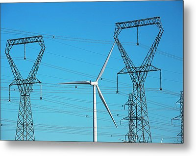 Wind Turbine And Electricity Pylons Metal Print by Jim West