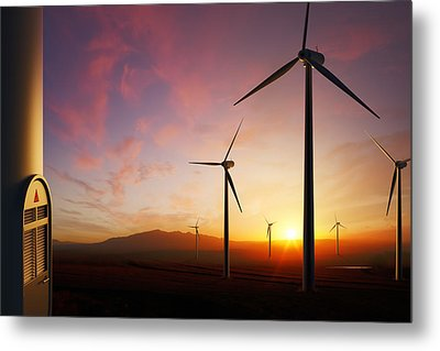 Wind Turbines At Sunset Metal Print by Johan Swanepoel