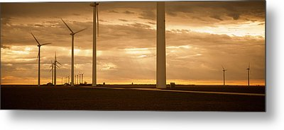 Wind Turbines In A Field, Amarillo Metal Print by Panoramic Images