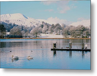 Windermere In Snow Metal Print by Ashley Cooper