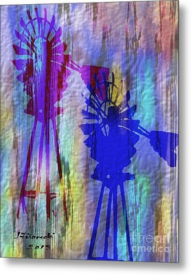 Windmill Abstract Painting Metal Print by Judy Filarecki