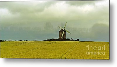 Windmill And Rapeseed And Storm Metal Print