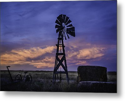 Windmill And Sky Metal Print