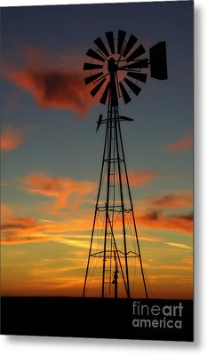 Metal Print featuring the photograph Windmill At Sunset 1 by Jim McCain