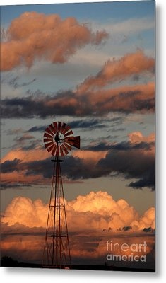 Windmill At Sunset V Metal Print