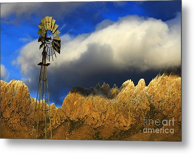 Windmill At The Organ Mountains New Mexico Metal Print by Bob Christopher