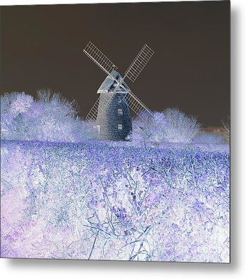 Metal Print featuring the photograph Windmill In A Purple Haze by Linda Prewer