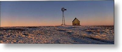 Windmill In A Snow Covered Farmland Metal Print