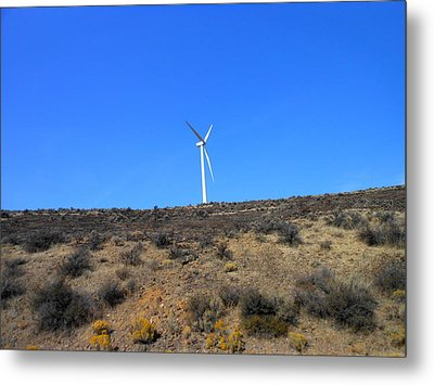 Windmill In The Desert Metal Print by Kay Gilley