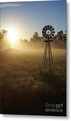 Windmill In The Fog Metal Print by Jennifer White