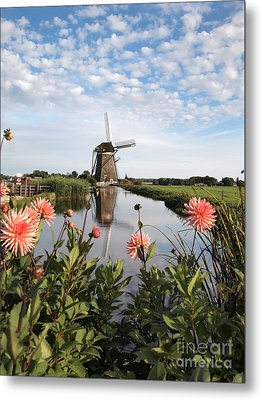 Windmill Landscape In Holland Metal Print by IPics Photography