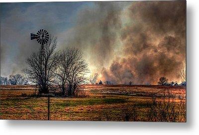 Windmill On A Burning Field Metal Print by Karen McKenzie McAdoo