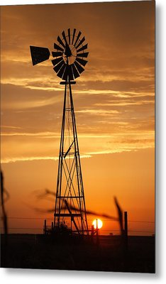 Windmill On The Prairie Metal Print by Shirley Heier