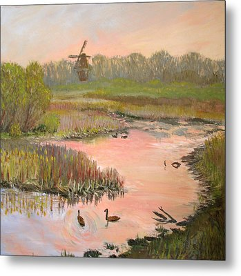 Windmill On The Waterfront Metal Print by Art Nomad Sandra  Hansen