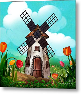 Windmill Path Metal Print by Bedros Awak